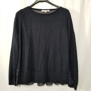 Loft light knit blue top with polka dot back